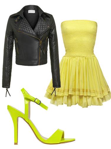 Vestito giallo scarpe nere